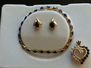 14kt Yellow Gold Blue Sapphire and Diamond Set and Ring Mint!