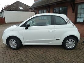 2014 plate - Fiat 500 Pop White 1.2 - Lady owner low mileage & year MOT to March 2018