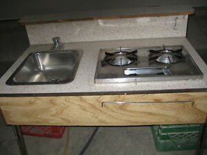2 Burner propane stove and sink