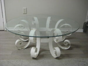Retro wrought iron and glass coffee table