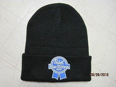 PABST BLUE RIBBON BEANNIE CAP SKULL CAP BLACK BEANIE (CUT OUT) GREAT GIFT ITEM!!