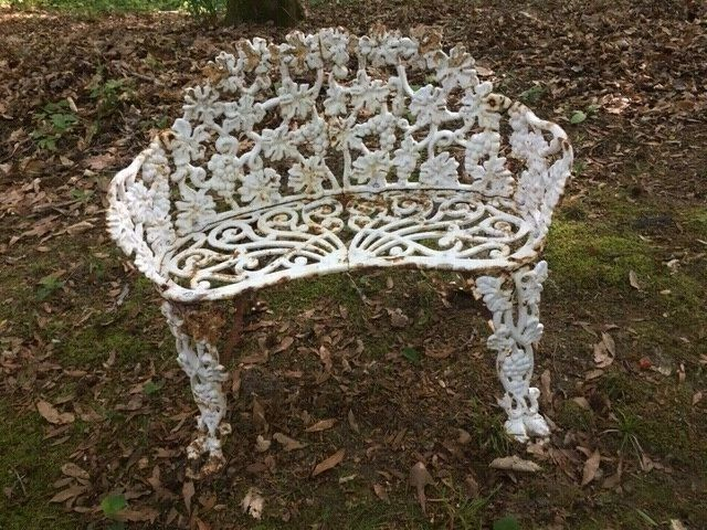VINTAGE CAST IRON PATIO BENCH SETTEE