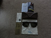 RARE VINTAGE RAY BAN WAYFARER SUNGLASSES B&L BAUSCH LOMB TORTOISE SHELL BROWN + CASE PAPERS CLOTH