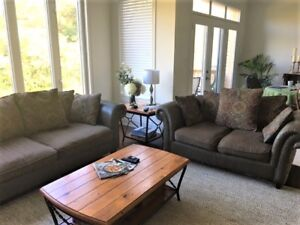 Sofa and Love Seat - Leather & Fabric