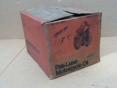 Vtg AMF Harley Davidson Orange PreLuxe Empty Cardboard Box Case for 24 Oil Cans
