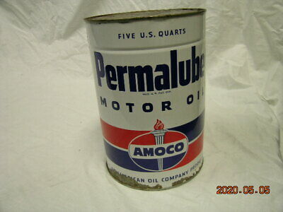 PERMALUBE FIVE QUART MOTOR OIL CAN FULL 5 FULL QUARTS