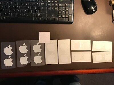 Lot of 10 Apple Mac White Apples Logo Sticker Decal Authentic OEM *NEW*