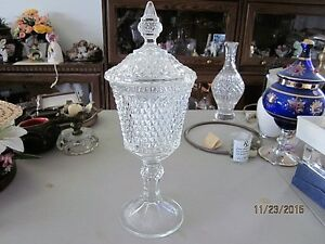 candy dish, decanter, misc items