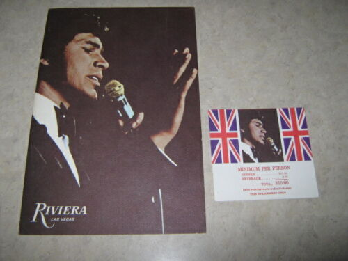 Engelbert Humperdinck RIVIERA HOTEL CASINO LAS VEGAS Dinner Menu & Ticket RARE!