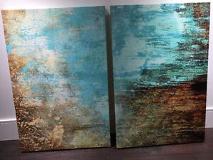"""Dreamy abstract diptych: 24x36"""" turquoise and bronze canvases"""