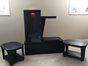 SOLID OAK Entertainment Unit and 2 End Tables