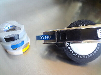 Vintage Chrome Dymo 1570 Label Maker Embosser Tape Writer 3 Rolls 38 Tape