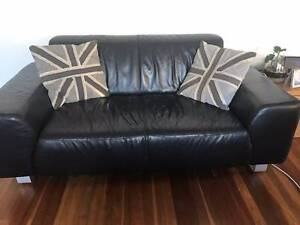 Black Leather Freedom Furniture Sofas (2 x 2.5 seaters) Willoughby Willoughby Area Preview