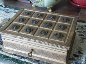 Lovely Small Vintage Carved Wooden Box With Lock And Key