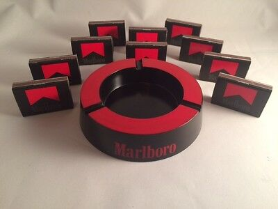 Vintage Retro Marlboro Ashtray Black & Red w/10 boxes of Matches(FREE SHIPPING)