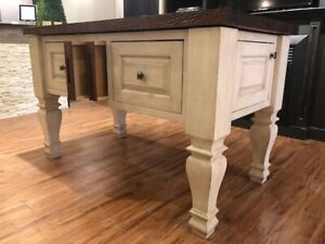 FREESTANDING KITCHEN ISLAND WITH WALNUT TOP
