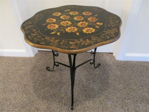 Hand Painted Vintage Folding Tole & Wood Side or Coffee Table - Yellow Daises
