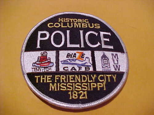 COLUMBUS MISSISSIPPI POLICE PATCH SHOULDER SIZE UNUSED 4 X 4