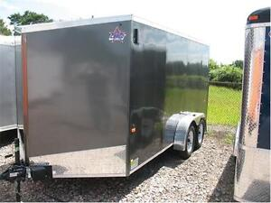 2016 7X14 V-Nose Enclosed Trailer with barn door (Screwless) London Ontario image 1