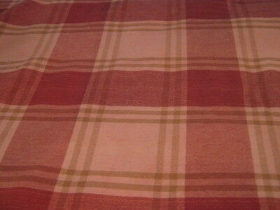 Made in India Fall/Autumn Wine/Pinkish Plaid Checked Heavy Cotton Tablecloth  (Pink Checkered Tablecloth)