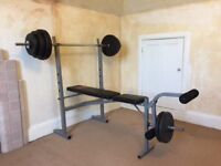 Pro Power Bench, Bar and 50KG of various weights