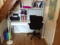 long white IKEA desk with drawers and detachable shelves- excellent condition