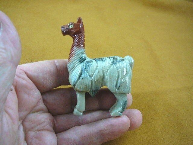 (Y-LLA-ST-403) gray red LLAMA carving stone SOAPSTONE figurine PERU love llamas