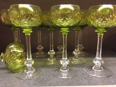 Service de 6 verres à vin en cristal. Roemer MASSENET doublé vert. Saint Louis