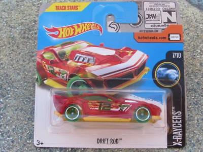 Hot Wheels 2017 #321/365 DRIFT ROD clear red over yellow X-Racers