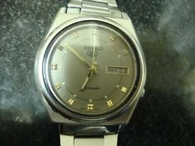 VINTAGE MENS SEIKO AUTOMATIC WATCH (GREY FACE)