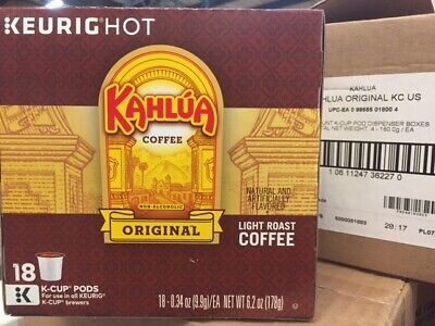 KAHLUA ORIGINAL LIGHT ROAST COFFEE KEURIG (18 K-CUP) BEST BY DATE 8/21/219