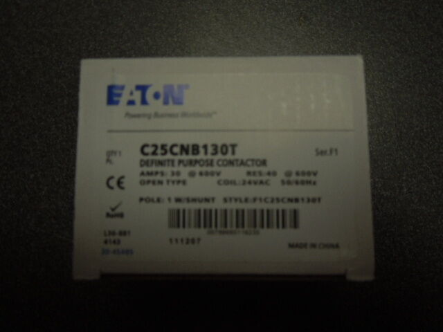 Eaton Cutler Hammer C25CNB130T contactor 30amp 24VAC 1 pole with shunt
