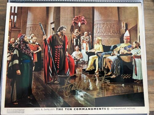 The Ten Commandments Lobby Card Signed by Charles Heston Very Good Condition