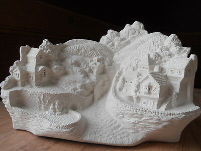 C-0740  Ceramic Bisque Ready to Paint Alpine Village Spring Scene