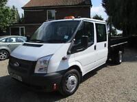 Ford Transit 2.2TDCi 100PS EU5 T 350 Double cab TIPPER 64,000 MILES 2013 REG 6SP