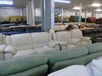 PRE OWNED HTL 3 Seater + 2 x Armchairs in Cream Leather
