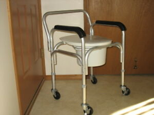 DUAL PURPOSE TALL WHEELED COMMODE FOR SALE