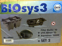 New POND FILTER SYSTEM, BIO sys 3 set 2, for ponds up to 29m3 or 6,380 gallons/29, 004 litres.