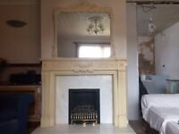 Elgin & Hall Ceralite fire surround, marble hearth/back panel with matching mirror