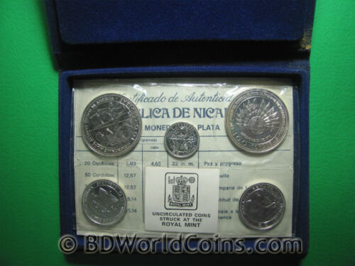 1975 NICARAGUA (5) COINS SILVER BU MINT SET MS2 EARTHQUAKE RELIEF ISSUE BOX+COA