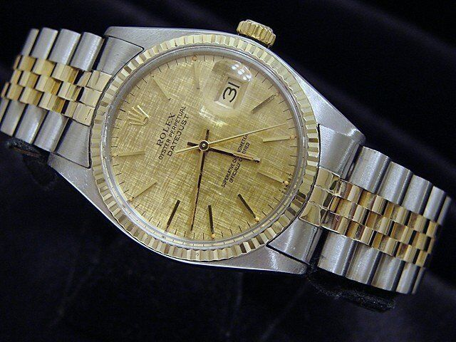 Mens Rolex 2tone 14k Gold/stainless Steel Datejust Jubilee W/linen Dial 16013