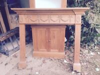 Three pine fireplaces for sale. Matching curved cupboard and shelving also available