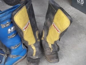 Vintage motocross boots and clothing