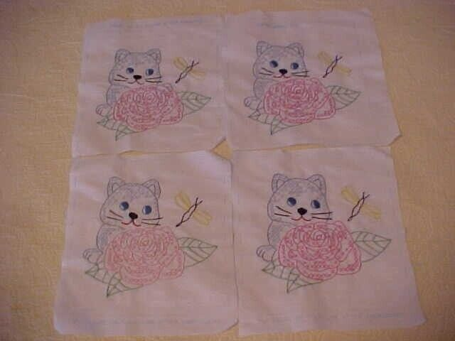 35 FINISHED EMBROIDERED and CROSS STITCH QUILT BLOCKS, ROSES w/ CATS