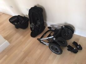 Maxi Cosi Mura 4 Pushchair with Carrycot, Raincovers, Adapters for Pebble Carseat -Great Condition