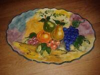 Handmade fruity oval plate by Aris ceramics