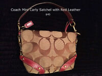 Coach Mini Carly Bag with Red Leather