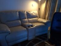 2 seater reclining cream leather sofa for sale
