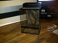Exo Terra vivarium 45x45x60cm with Exo Terra hood comes with heatmat and other accessories,