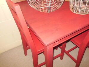 wood table and chairs in red London Ontario image 3